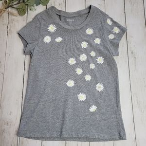 Kidpik GIRLS Gray Daisy Print Top